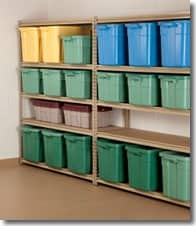 Basement Storage_ Shelves and Color Coded Bins