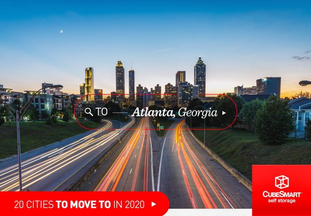 Skyline von Atlanta, Ga in der Abenddämmerung