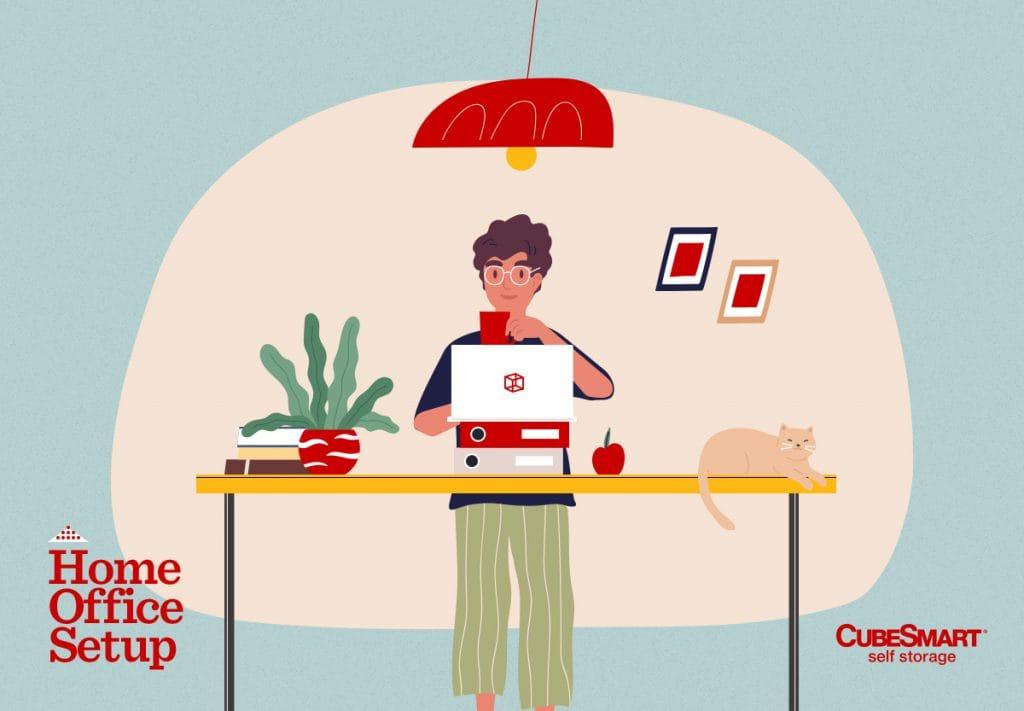 illustration of man at DIY standing desk