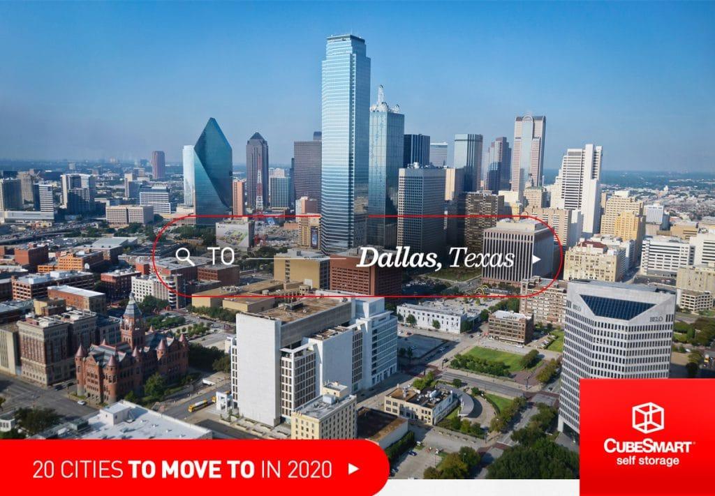 Downtown Dallas, tx an einem sonnigen Tag