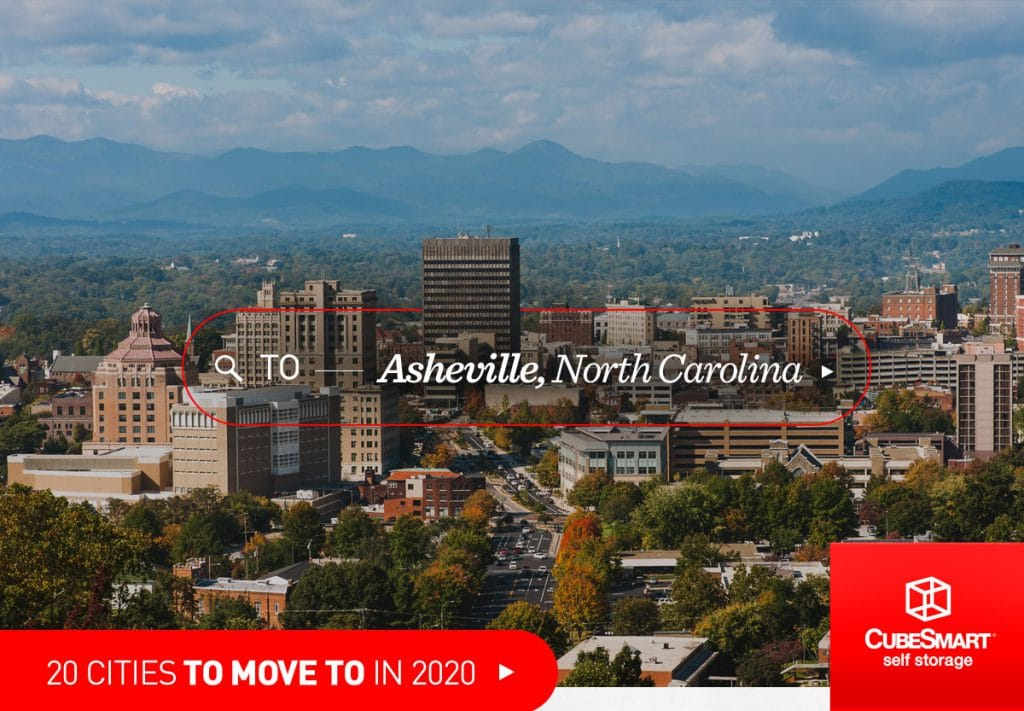 Asheville, NC skyline in midday