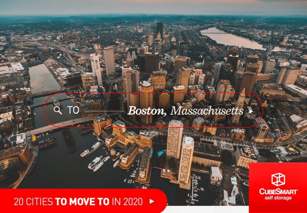 aerial shot of boston, ma