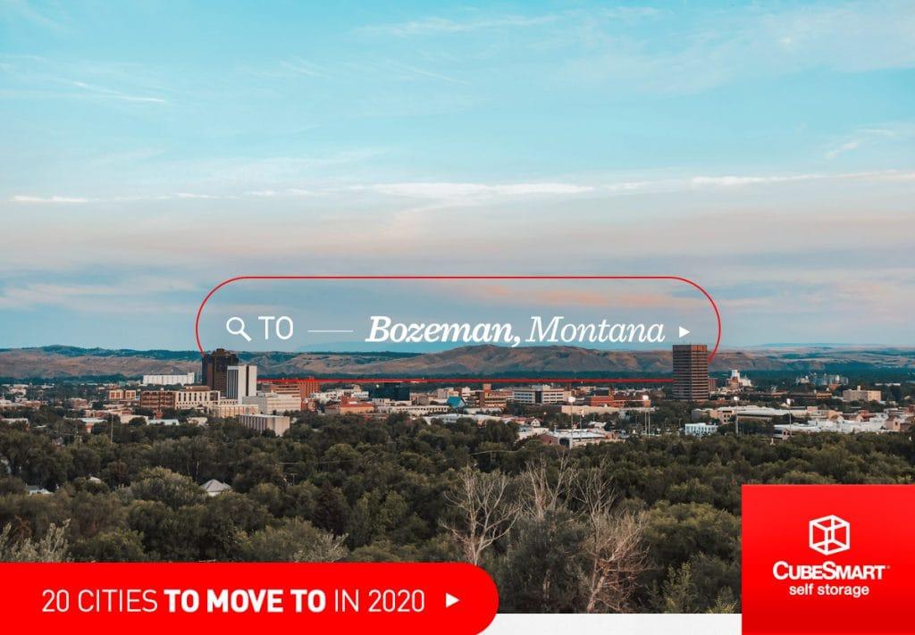 Downtown Bozeman, Mt und die umliegende Natur aus der Ferne