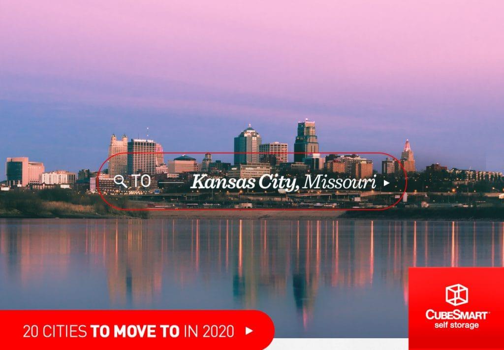 Kansas City, mo skyline across the water at sunset