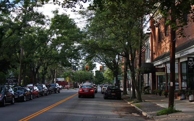 a town street in Rhinebeck, NY