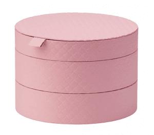 pink, circular stackable boxes