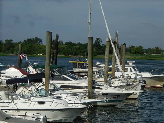 boats docked in the water at City Island, Bronx