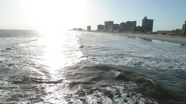 view of the beach and the casinos in Atlantic City, NJ