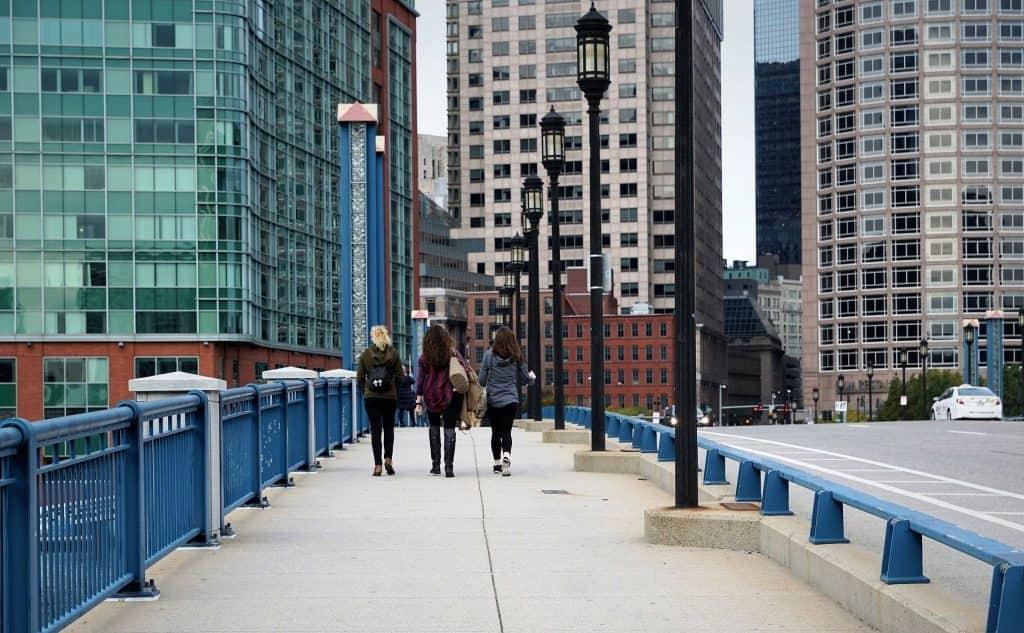 group of girls walking in Boston, Massachusetts