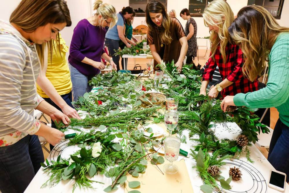 Group of women making wreaths in Tucson, AZ
