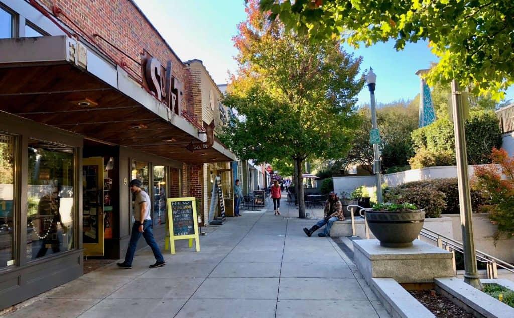 side walk view of stores in Decatur neighborhood of Atlanta