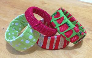 Repurposed yogurt container bracelets