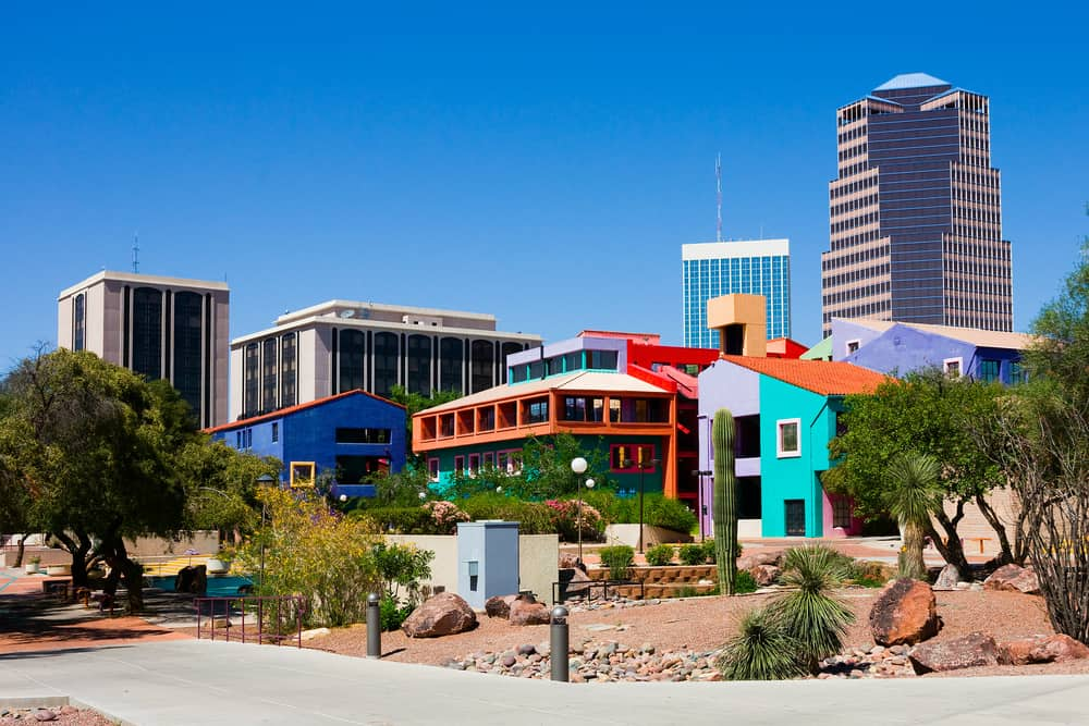 Colorful stucco buildings in Downtown Tucson