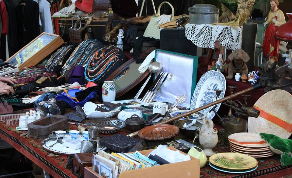 various items on a table at a flea market