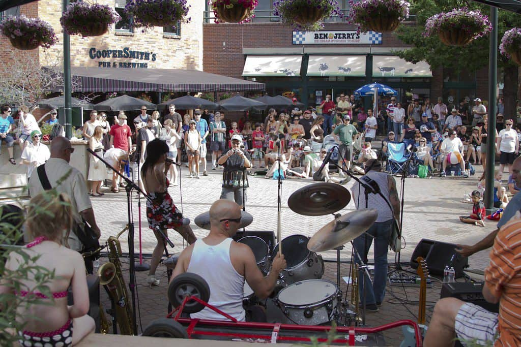 A band performs in downtown Fort Collins CO