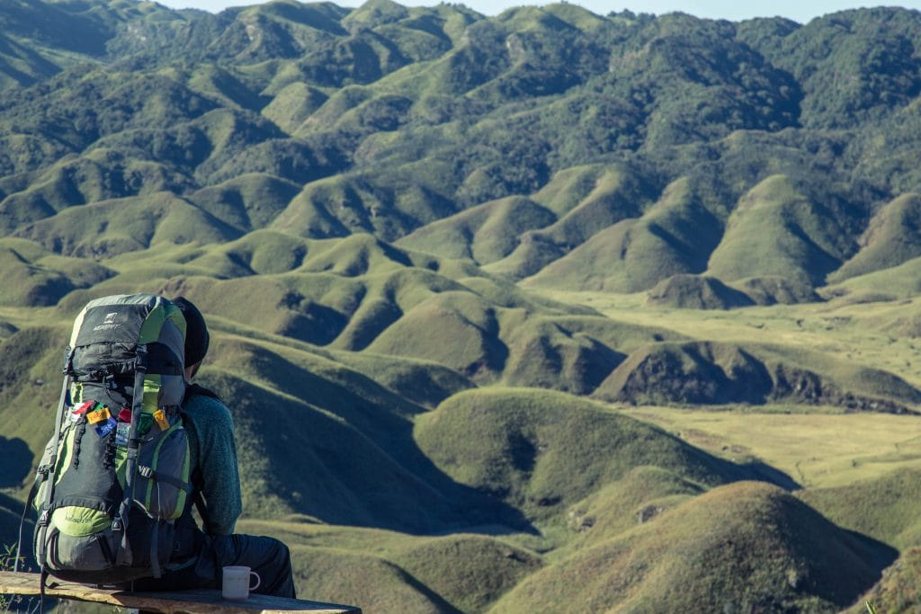 Gap year- man wearing back pack over looking valley of green hills