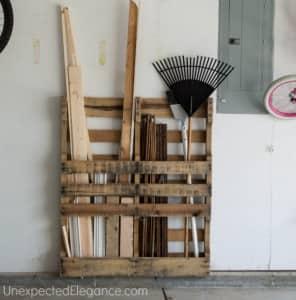 Upcycle Pallet Garage Organization