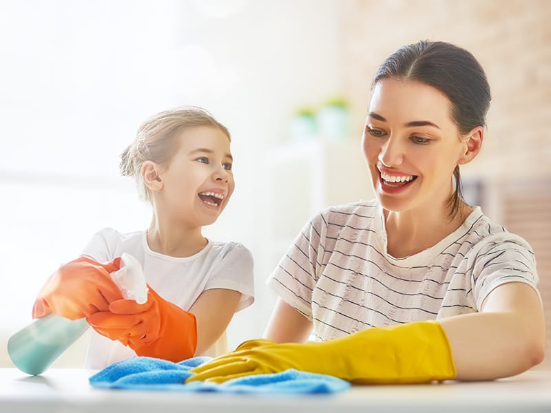 woman and girl cleaning