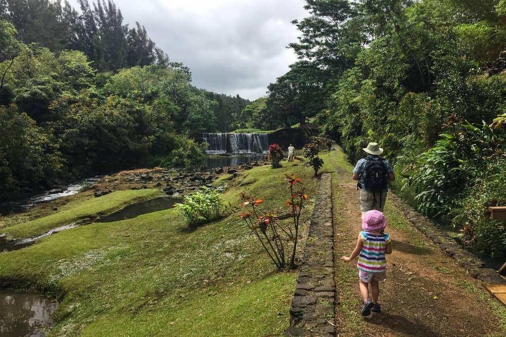 Exploring gardens in Kilauea, Kauai