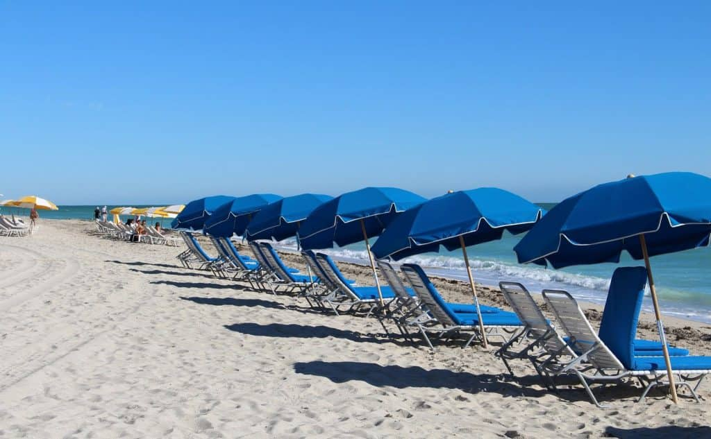 Umbrellas and chairs along Miami Beach, Florida