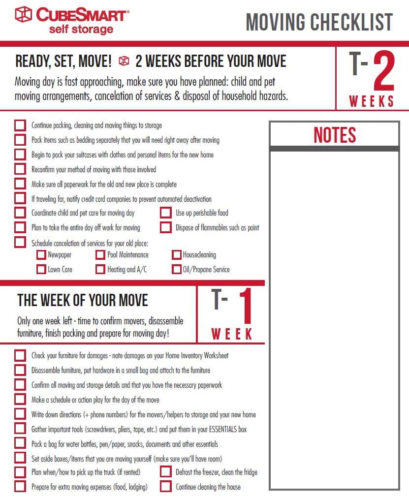 Moving checklist at 2 weeks
