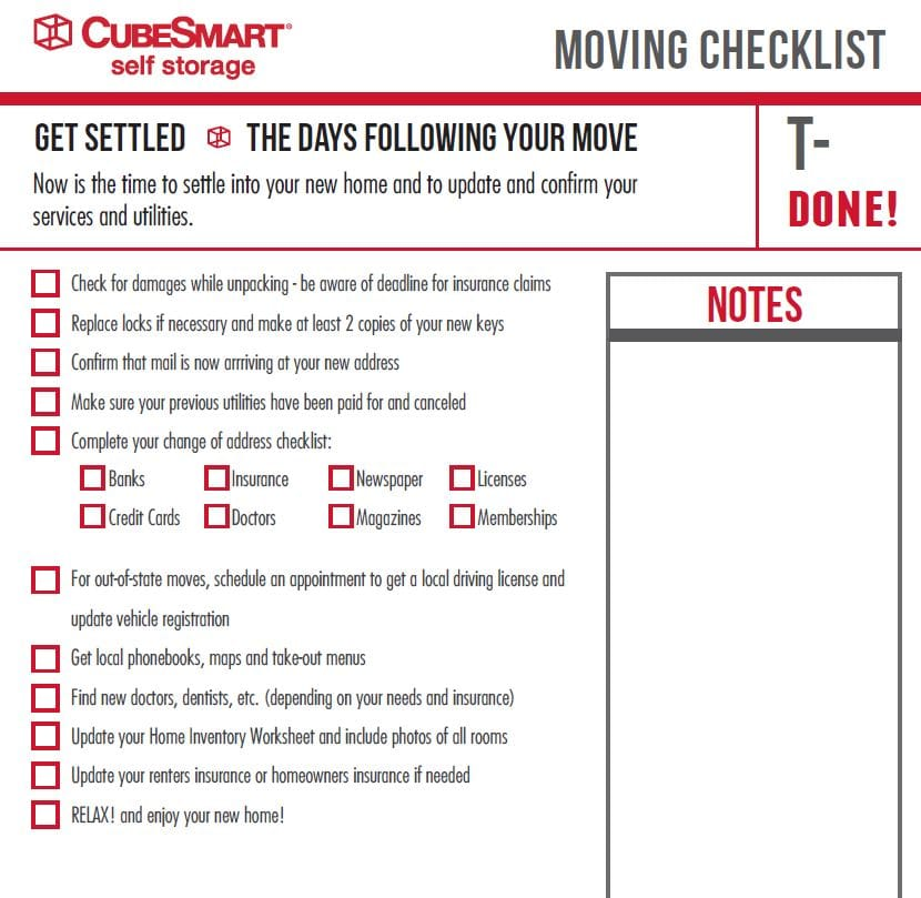 Moving Checklist - new place