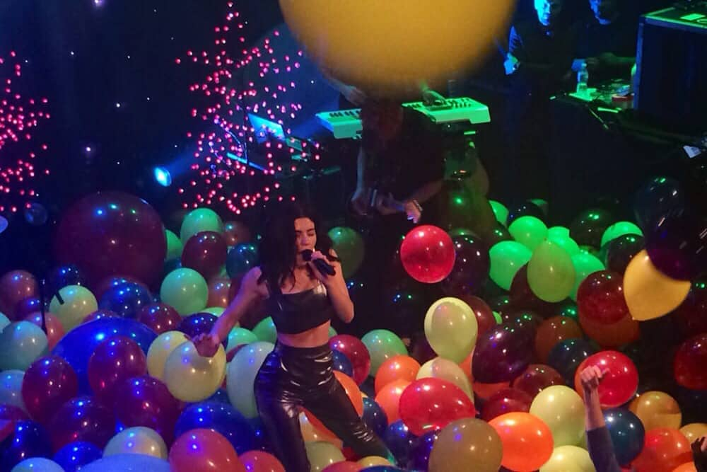 A performance with colorful balloons at the Bowery Ballroom in NYC