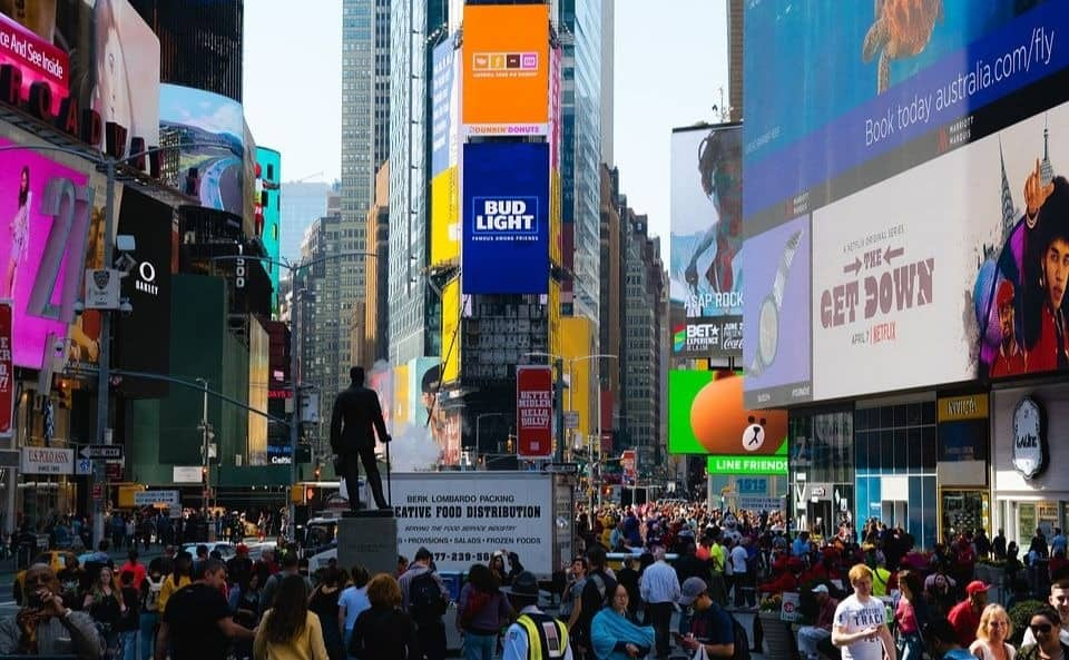 Crowds of people at Times Square in NYC
