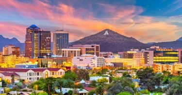 Tucson skyline at sunset