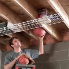 man using ceiling storage