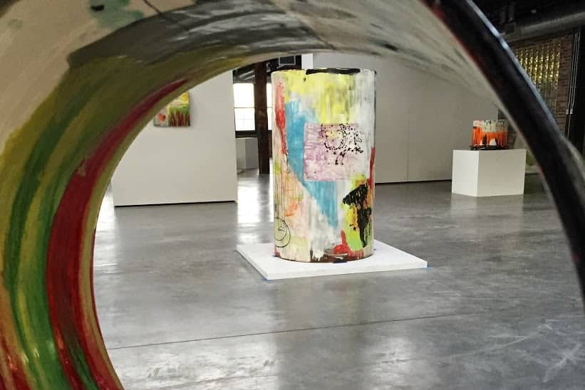 Colorful sculptures inside the Belger Arts Center in KAnsas City, MO