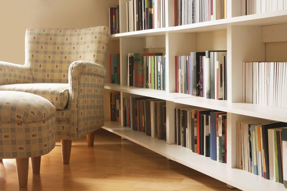 books on a white shelf