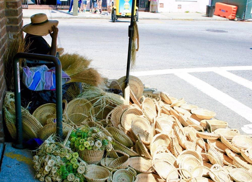 Sweetgrass Baskets outside the Charleston City Market in Charleston, SC