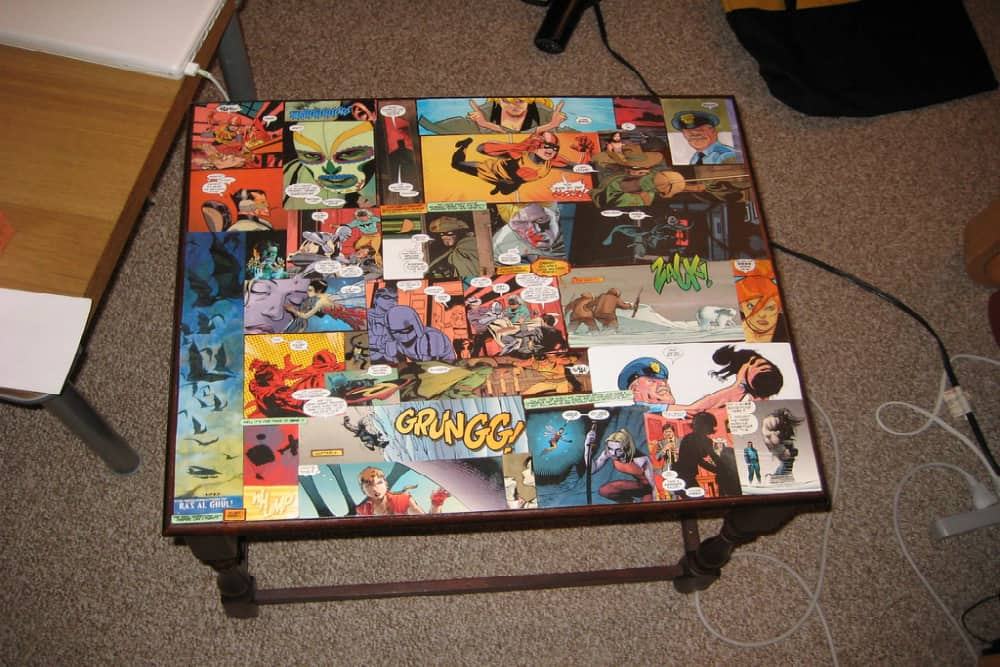 End table covered in comics