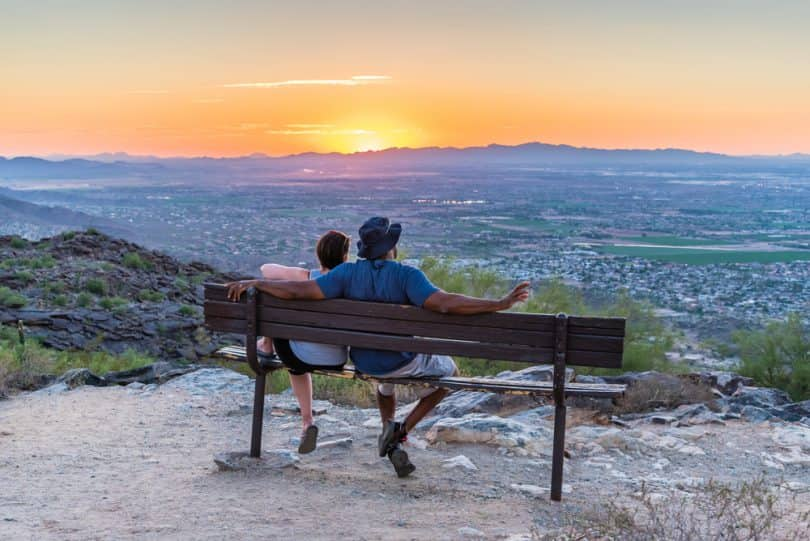 couple watches sunset in Phoenix Arizona