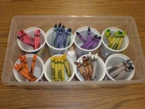 Crayon storage an organization_recycled yogurt containers