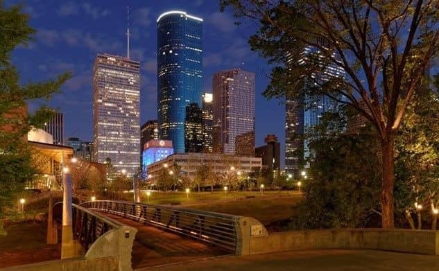 buildings in Houston lit up at night