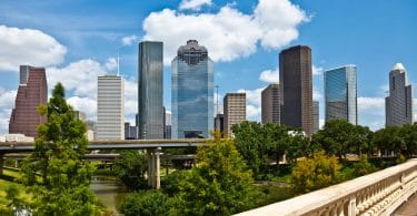 downtown houston on a sunny day