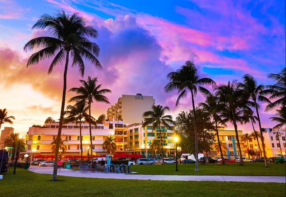 neighborhoods in Miami at sunset