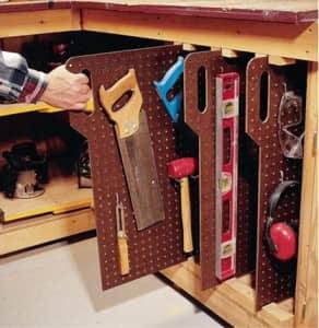 tools organized on pegboard