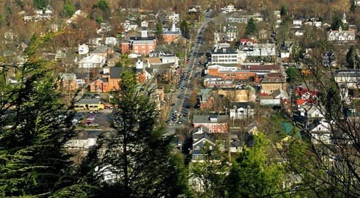 aerial view of Mildford PA in the Pocono Mountains