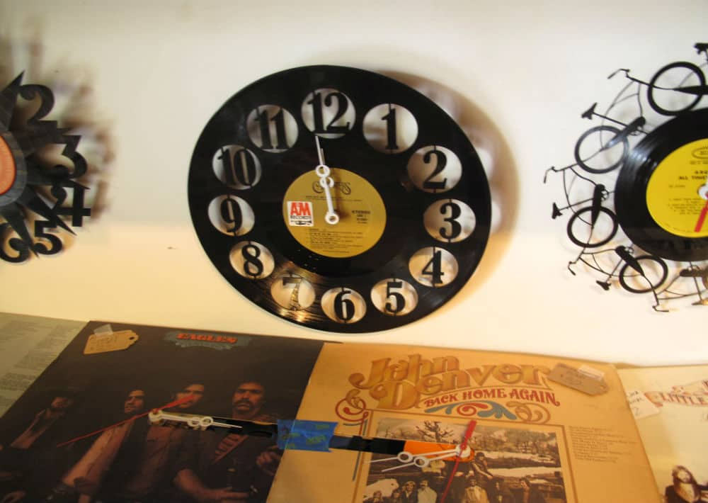 Record upcycled into a clock