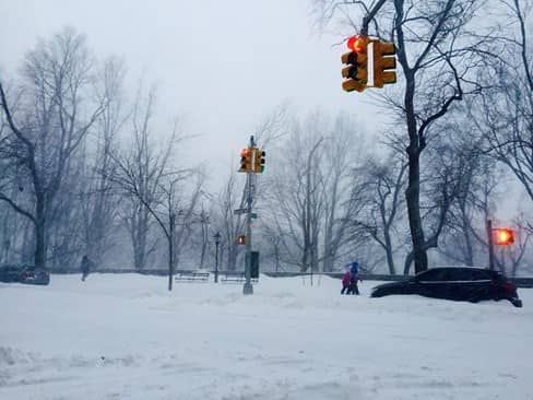 Snow-covered intersections in NYC