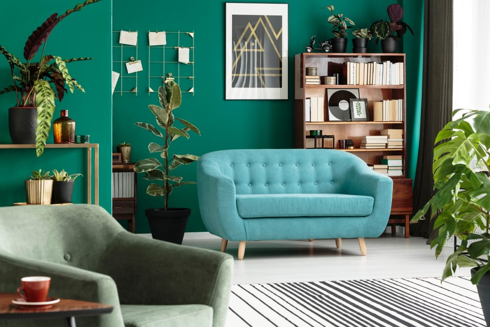 Green living room interior with blue sofa, armchair, wooden cabinet and plants