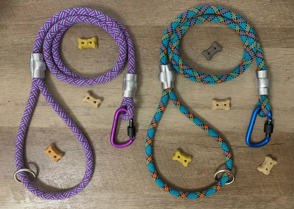 Two upcycled dog leashes
