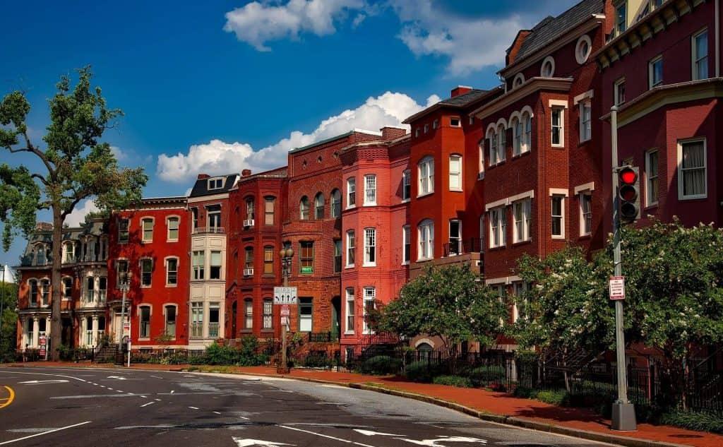 row of buildings in Washington, D.C.