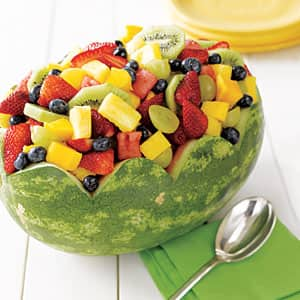 Mixed fruit in a halved watermelon