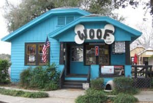 Barnaby's restaurant, a blue building with a large dog reading WOOF