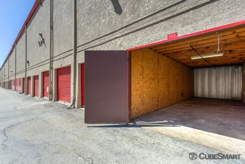 Self storage units with red roll-up doors in Diamond Bar, CA
