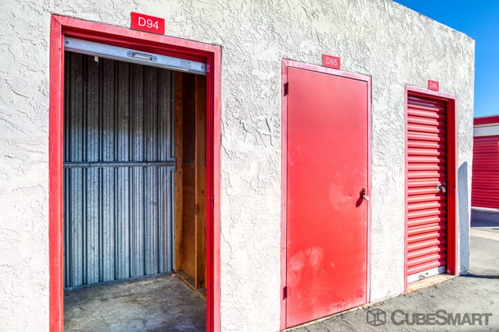 Self storage units with red roll-up doors in Sacramento, CA